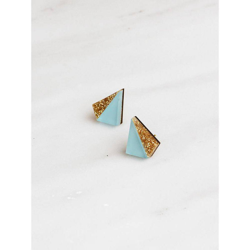 Wolf and Moon | pyramid stud earrings | pale blue gold glitter
