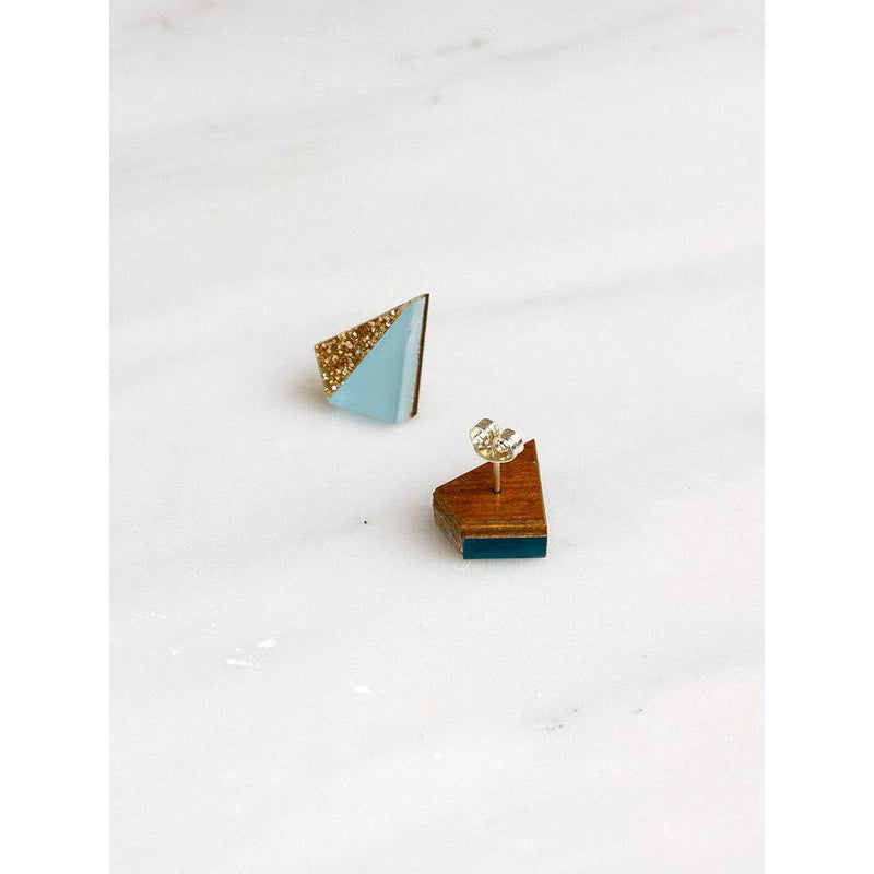 Wolf and Moon | pyramid stud earrings | pale blue gold glitter - front and back