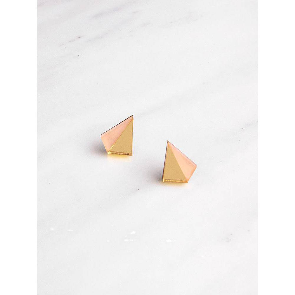 Wolf and Moon | pyramid stud earrings | gold peach