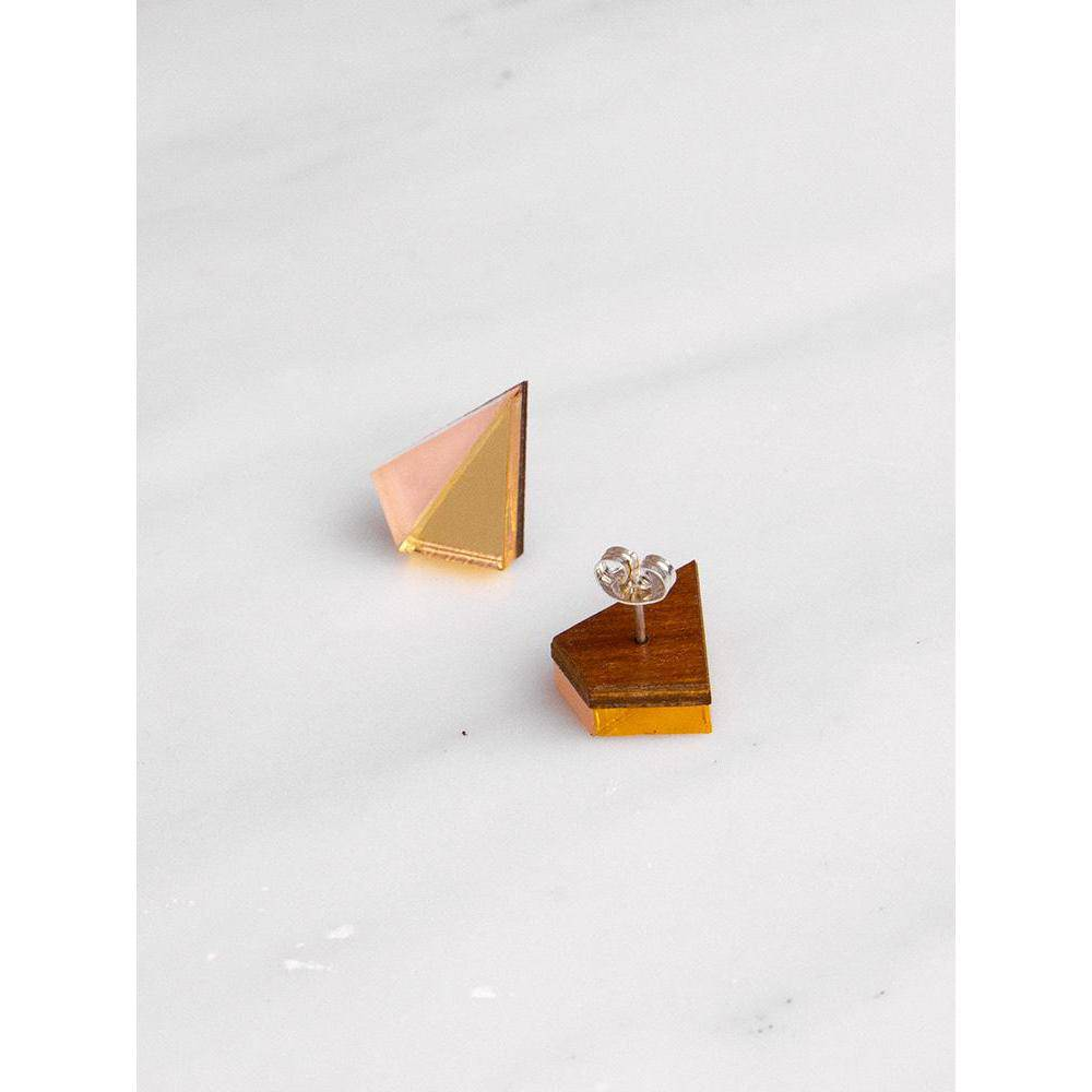 Wolf and Moon | pyramid stud earrings | gold peach - front back