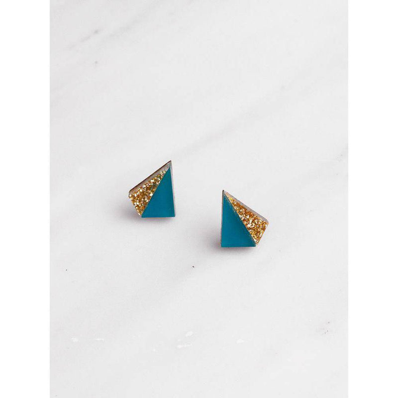 Wolf and Moon | pyramid stud earrings | teal gold glitter