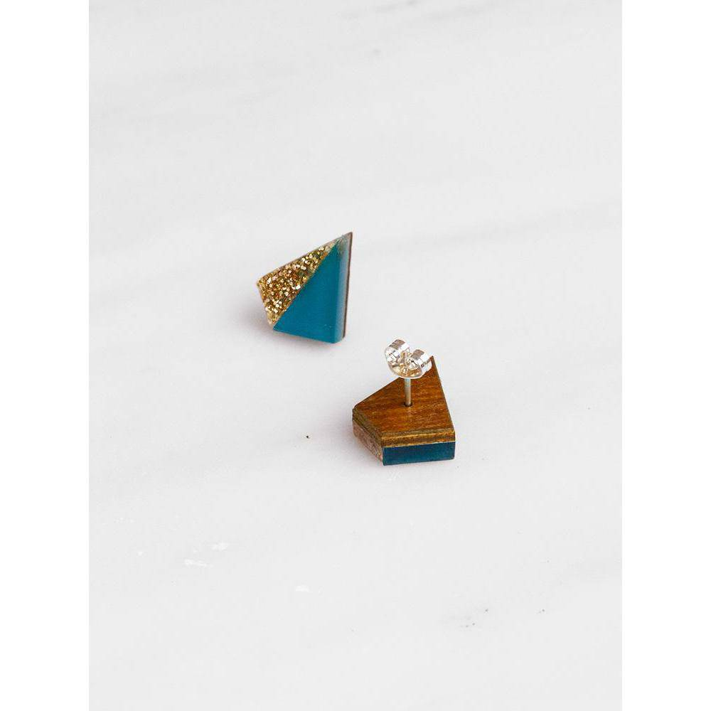 Wolf and Moon | pyramid stud earrings | teal gold glitter - front and back