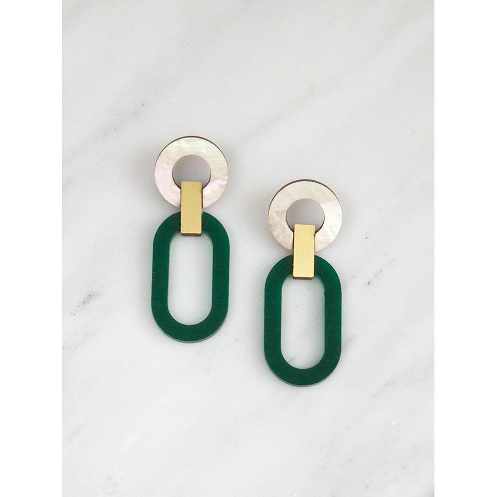 Wolf and Moon | lora II earrings | green
