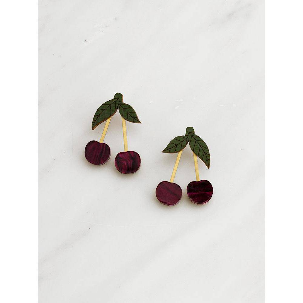 Wolf and Moon | mini cherry earrings