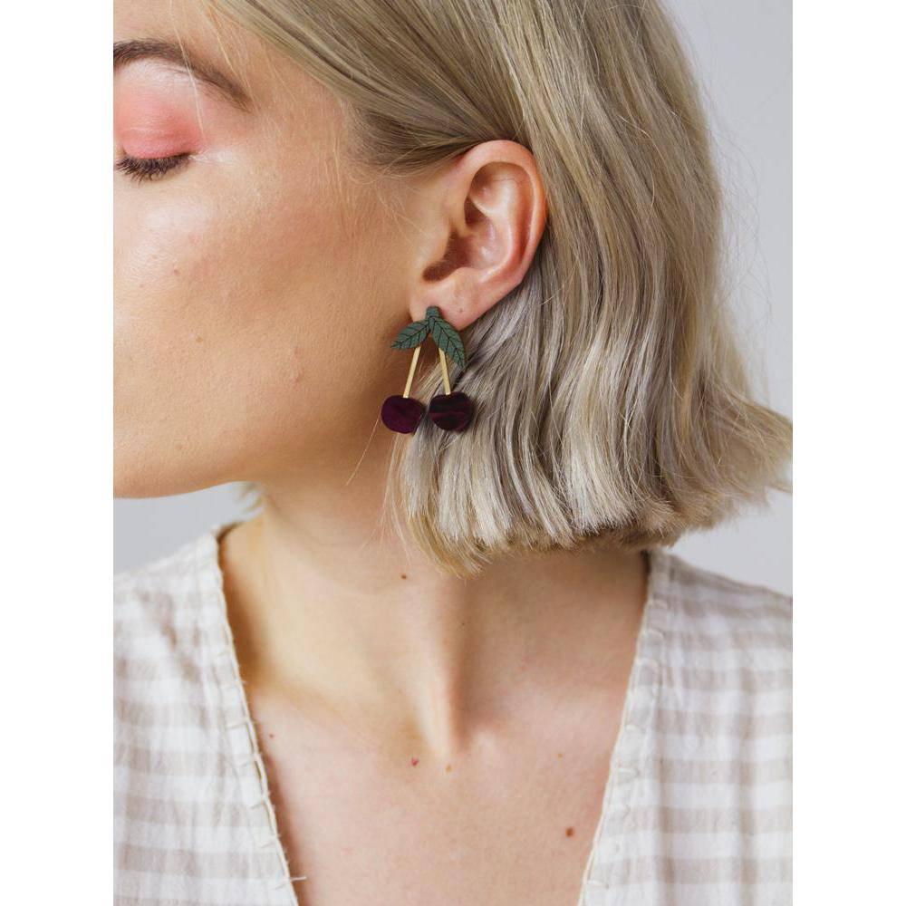 Wolf and Moon | mini cherry earrings - wearing