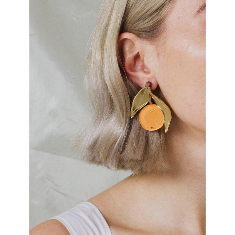 Wolf and Moon | orange earrings - model