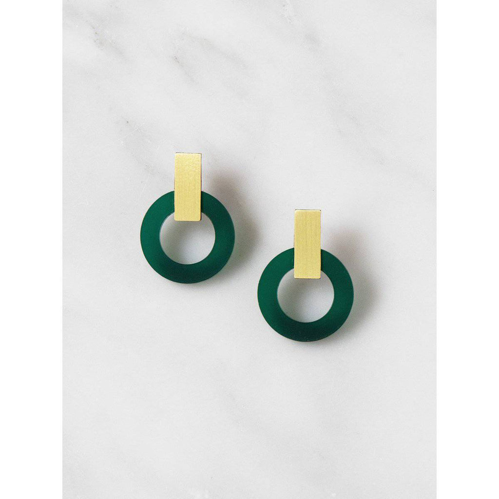 Wolf and Moon | orbit earrings | dark green