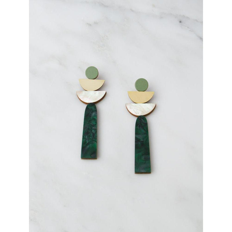 Wolf and Moon | selene earrings | green marble