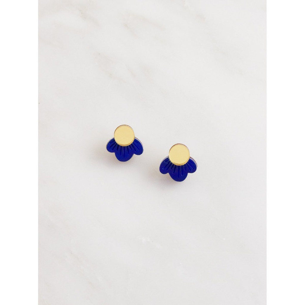 wolf and moon earrings - wildflower studs blue