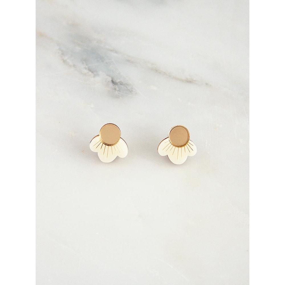 wolf and moon earrings - wildflower studs cream
