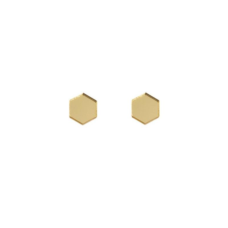Jewellery - Wolf and Moon | hexagon stud earrings | gold mirror - mondocherry