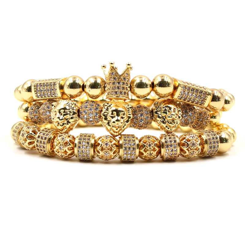 Pack de pulseras Lion Master Collection electroplatinadas oro 18k