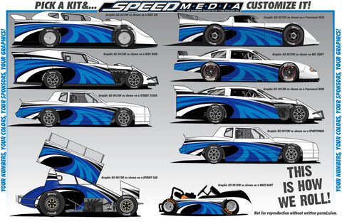 Example image showing the flexibility of our wrap designs over several different types of racing vehicles.