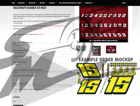 Racewraps Number Kit #010