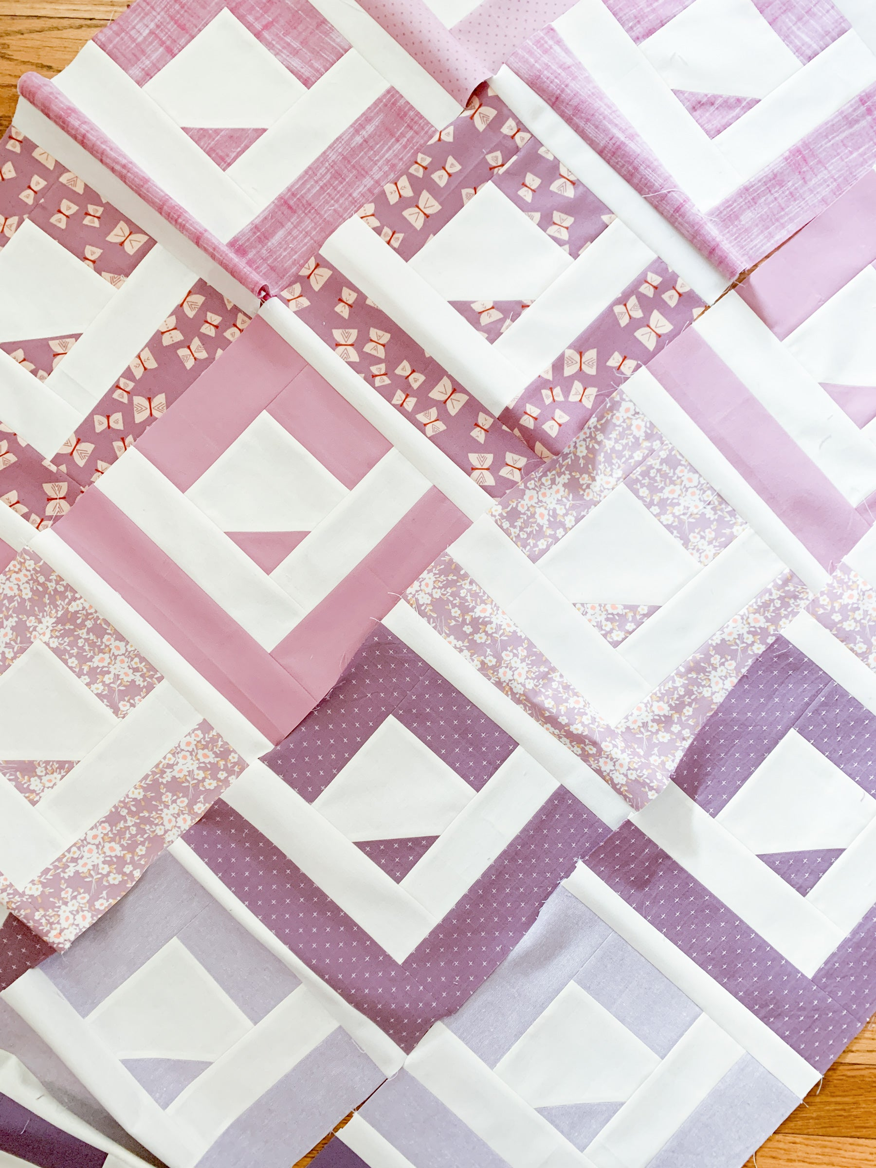 Quilt Rows - Purple Cabin Valley quilt by Cotton and Joy