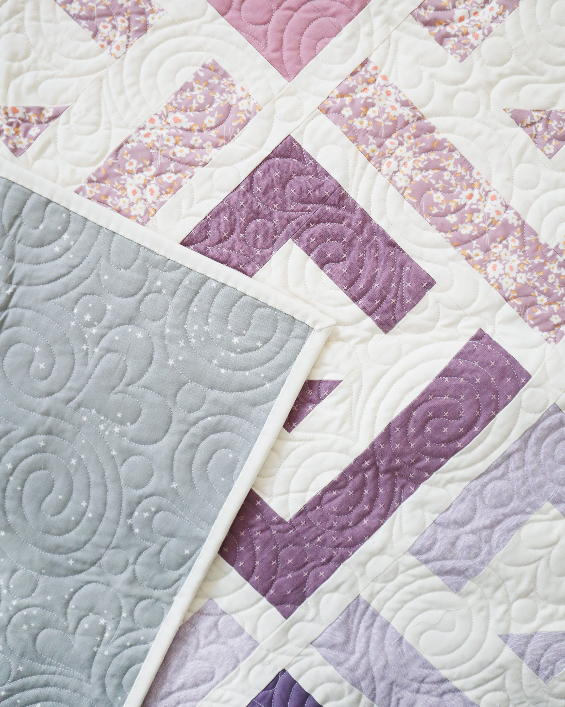 Cabin Valley Quilt - the purple one. A modern log cabin quilt by Cotton and Joy