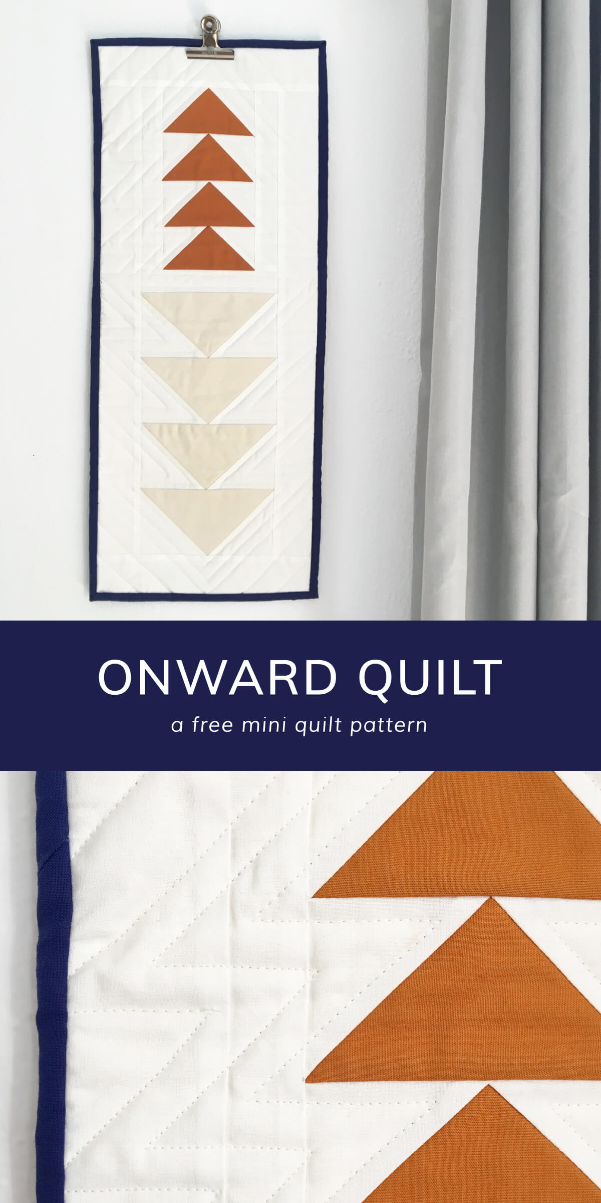 Free Mini Quilt Pattern, a modern minimal flying geese quilt: Onward. by Cottonandjoy.com #freequiltpattern #quiltpattern #quilting
