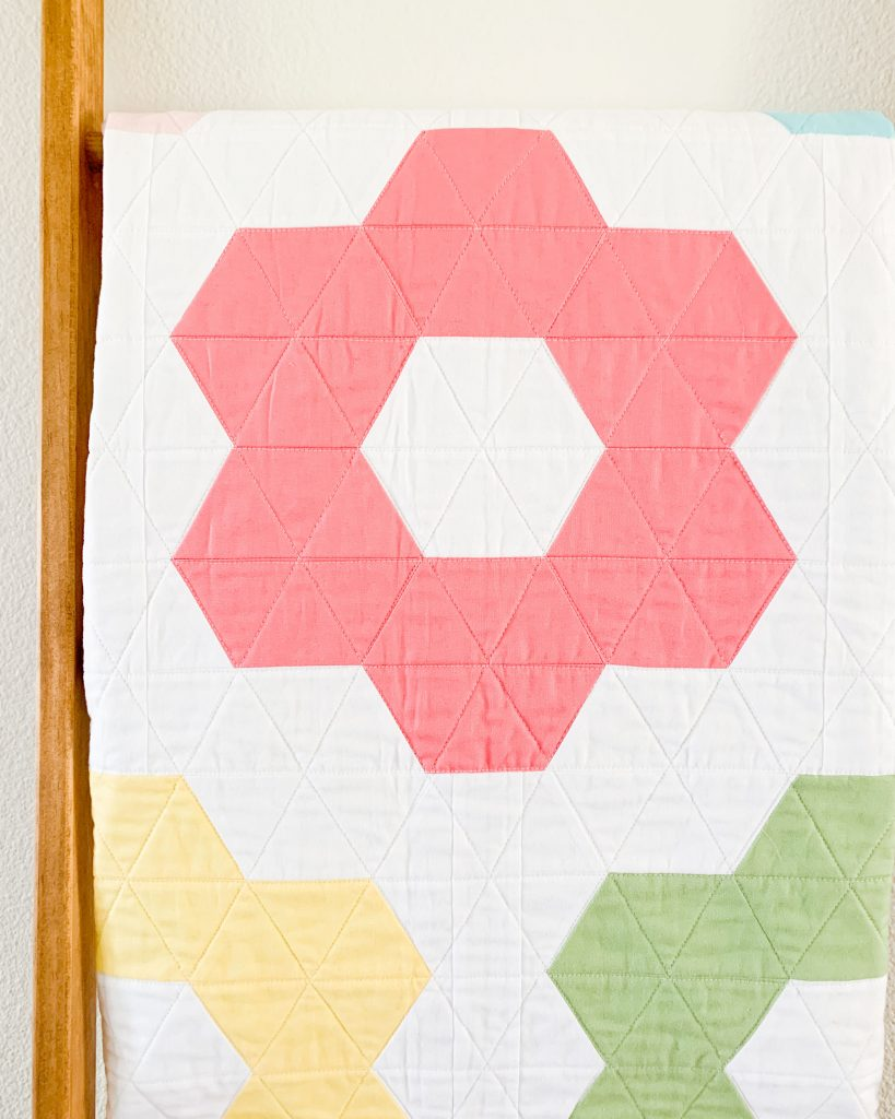 Quilting details on Hexie Blooms quilt