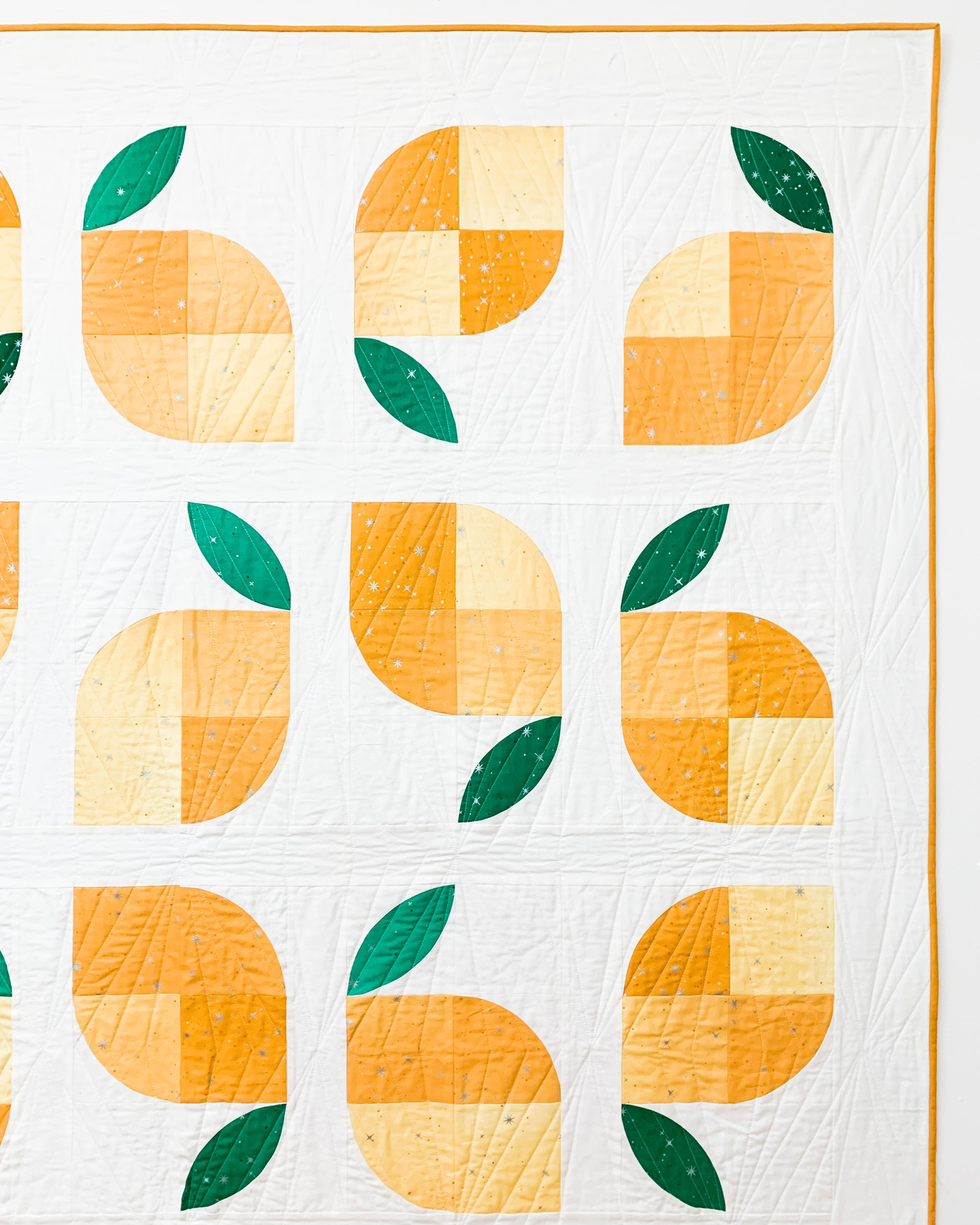 Quilting on a lemon quilt