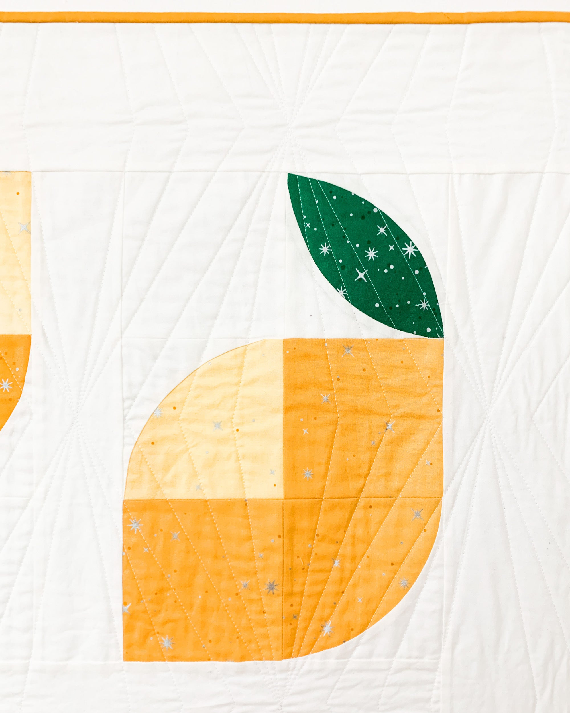 Quilting detail on lemons quilt