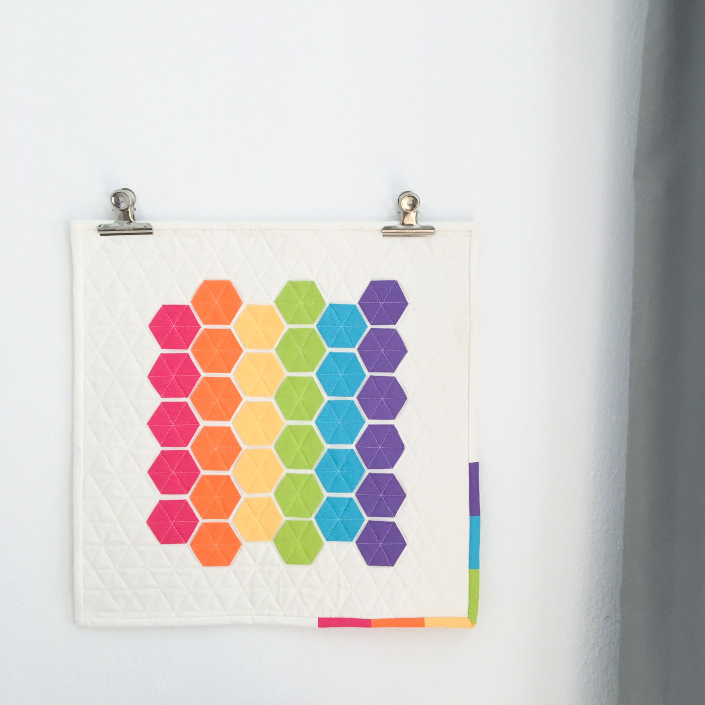 Modern Hexies Quilted Wall Hanging