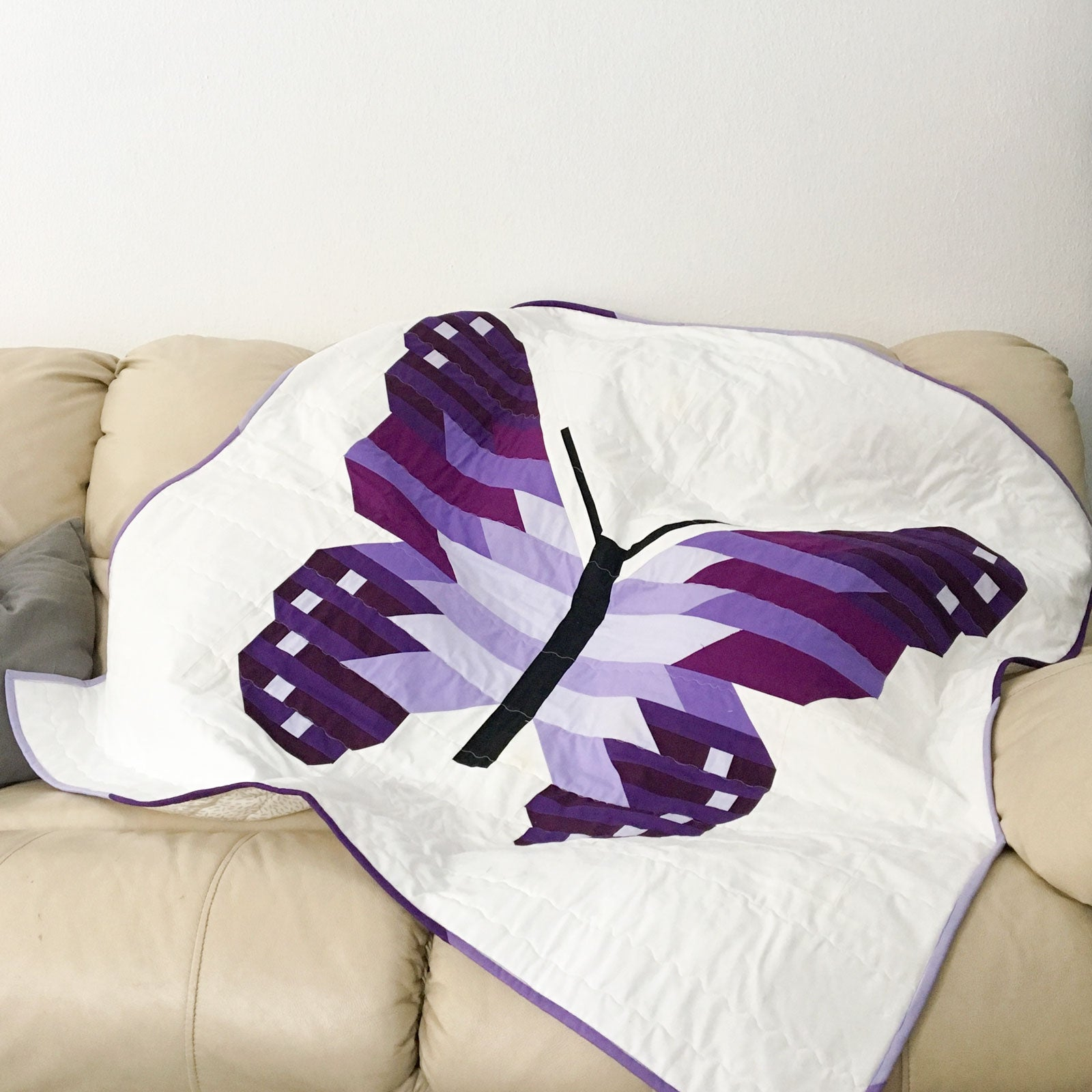 Purple Butterfly quilt, Bella Cottons