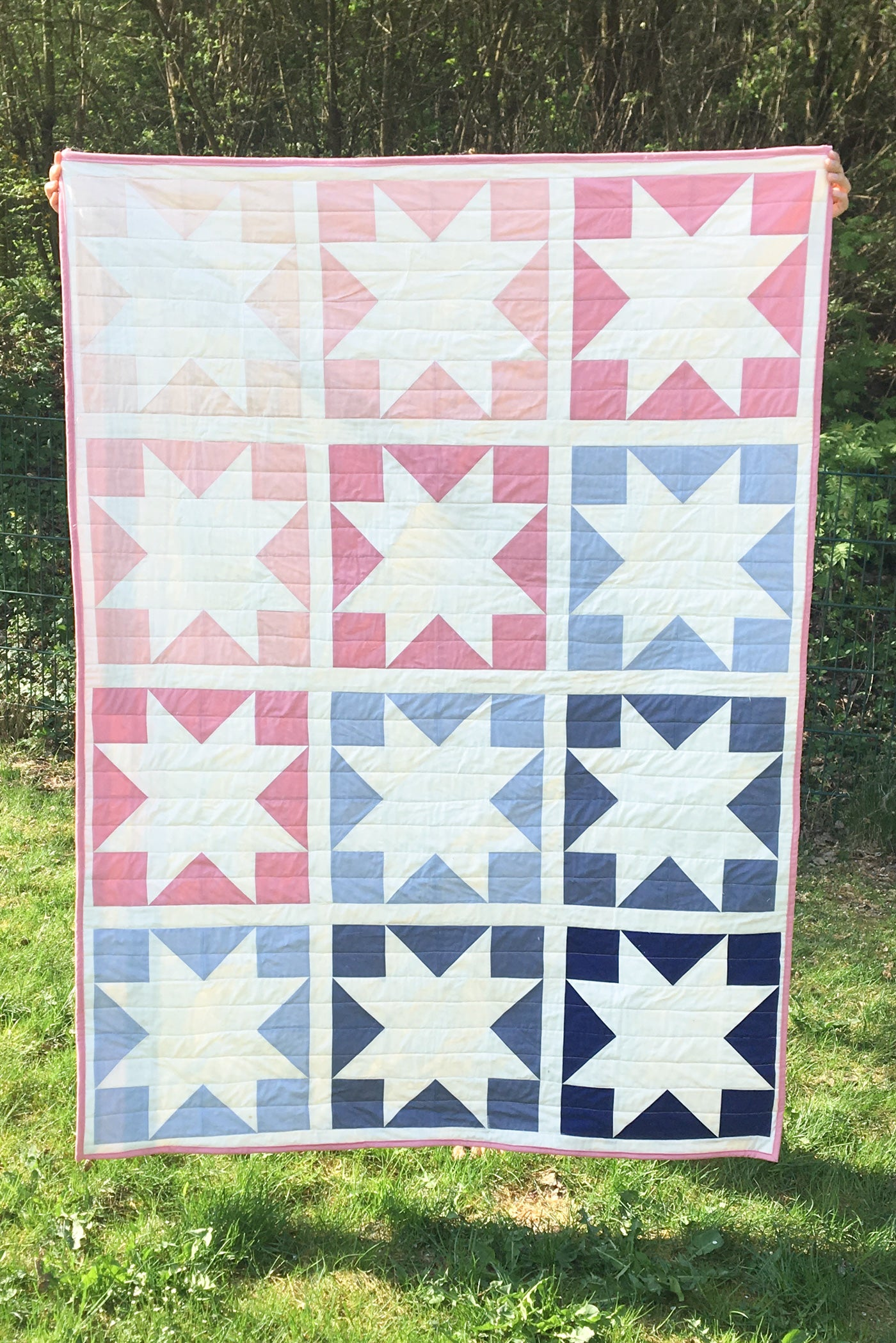 Sawtooth star quilt pattern. Easy quilt pattern for beginners.