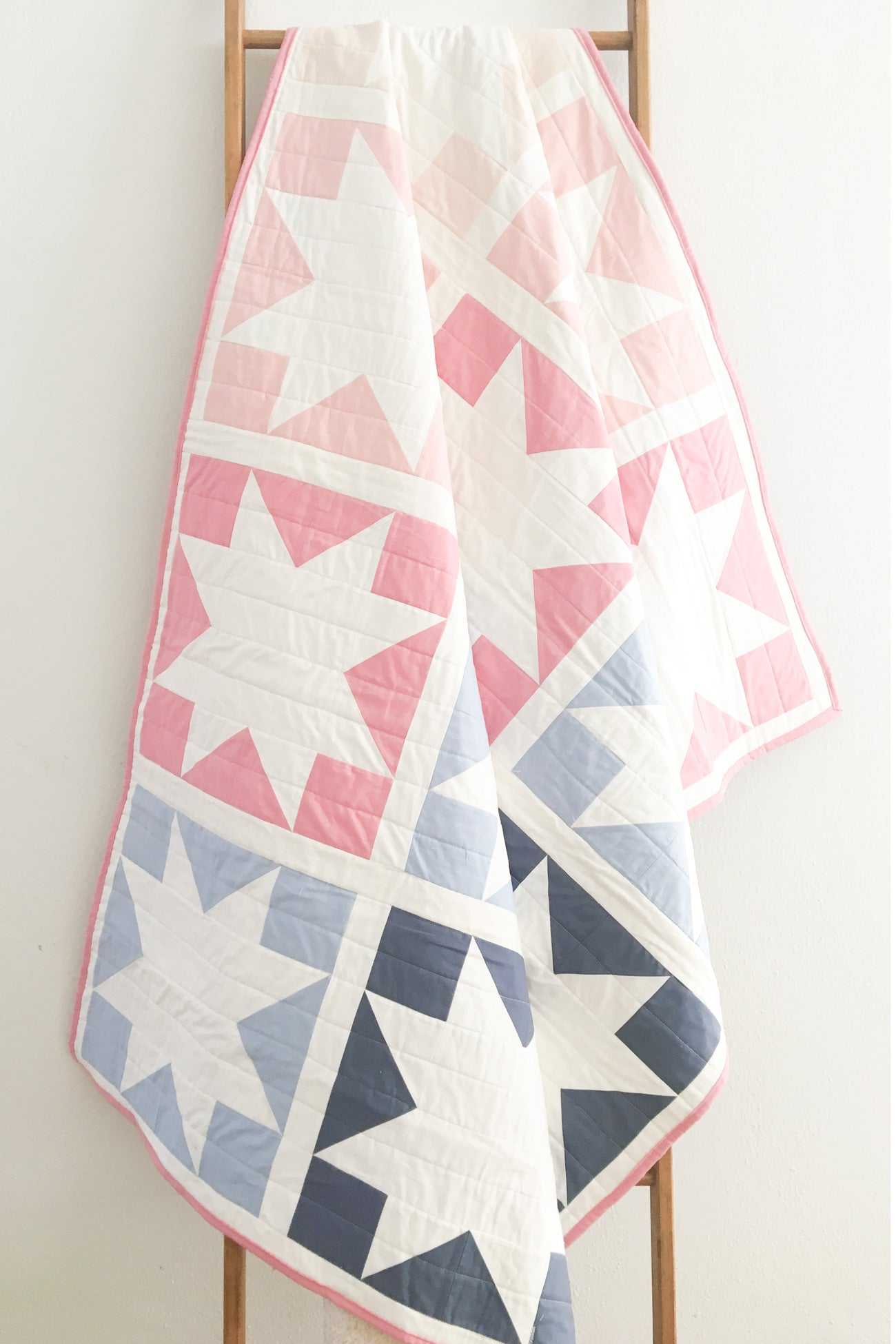 Inside Out Star: An easy, perfect for beginners quilt pattern. Spring quilt by CottonAndJoy.com