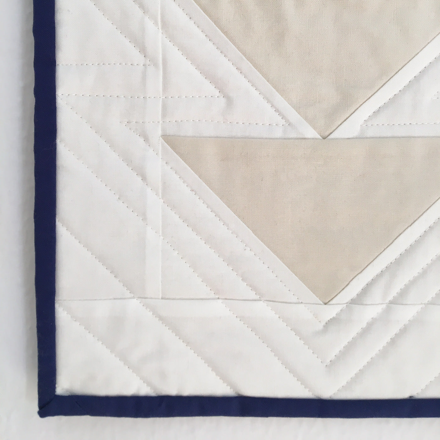 Close up of ripple effect using straight line quilting on a domestic machine