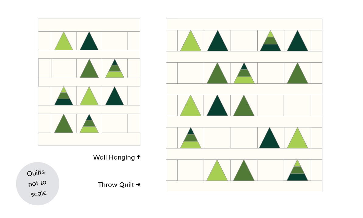 layout options and sizes for the Tree Farm Quilt pattern by Cotton + Joy