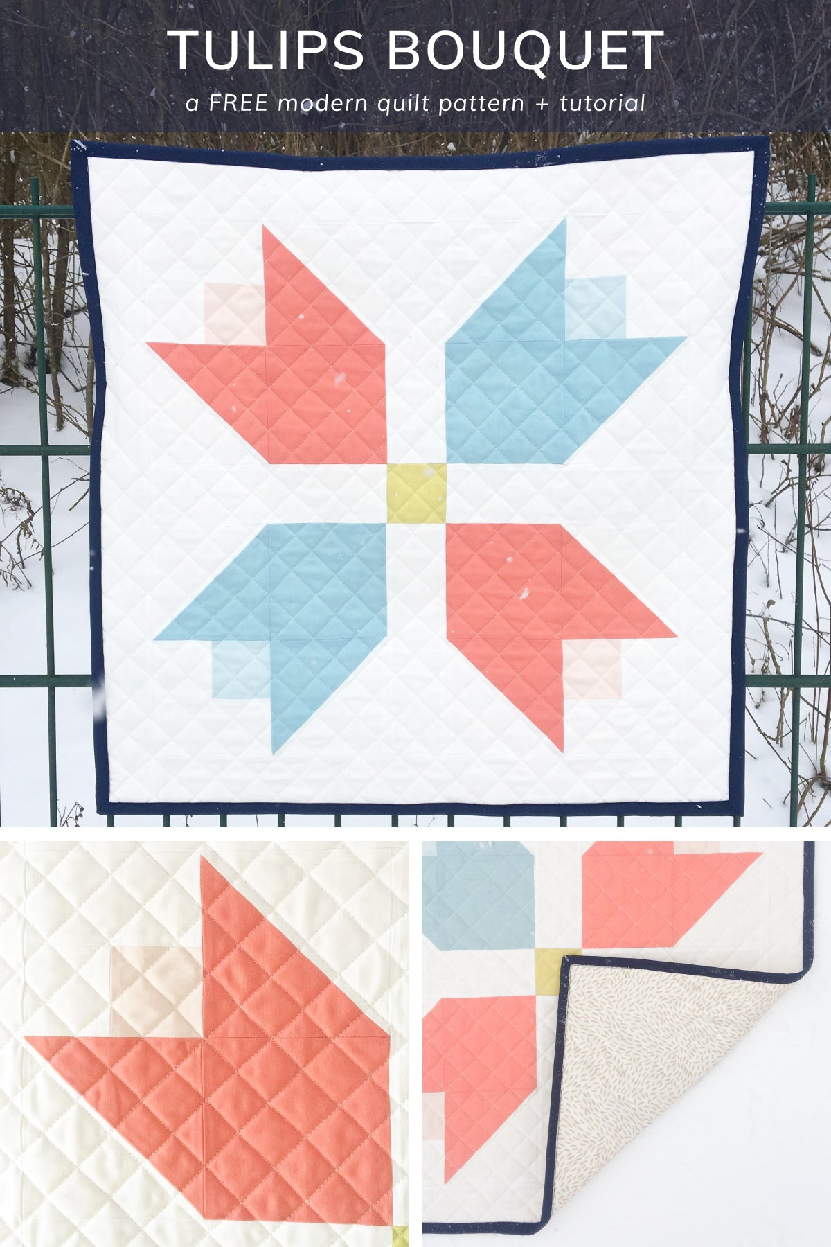 Visit Cotton + Joy for a free pattern and tutorial on the tulips quilt block. Oversized for a spring quilted wall hanging
