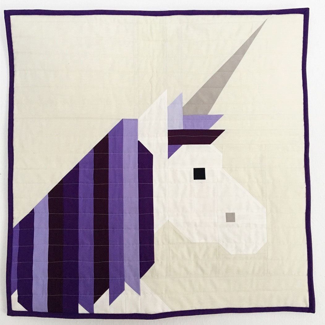 Purple Unicorn Quilt. Lisa The Unicorn Pattern by Elizabeth Hartman. Piece and Quilted by Fran of Cotton and Joy