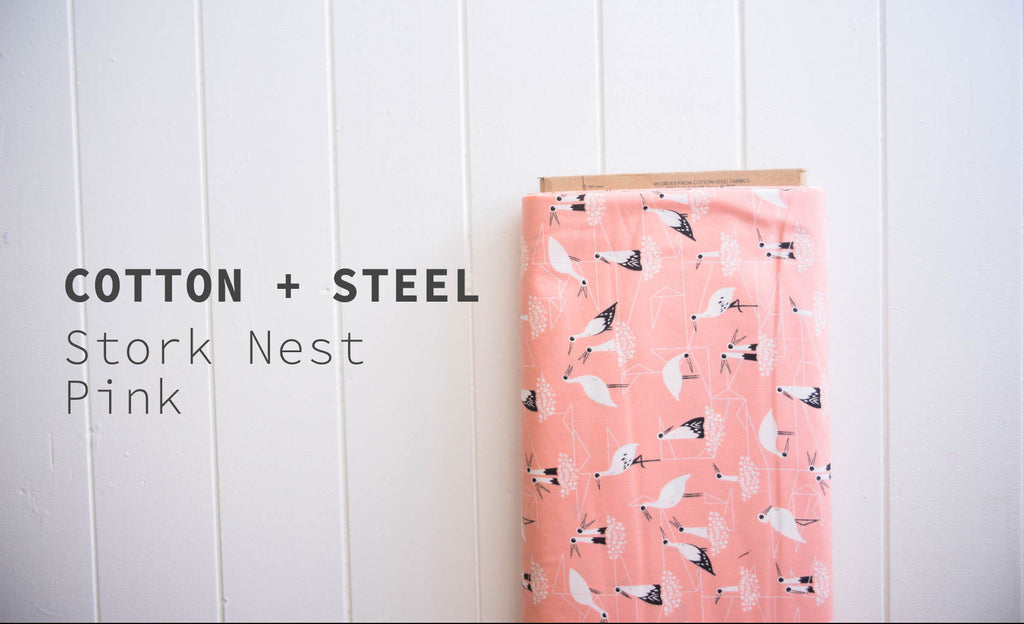 Cotton + Steel Stork Nest Pink
