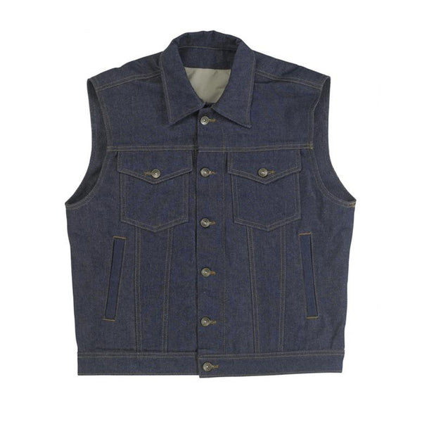 Biltwell Prime Cut Collared Denim Vest Indigo Blue