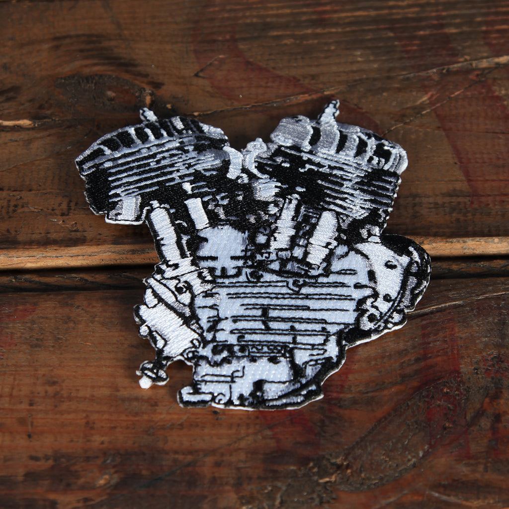 Lowbrow Customs Flathead Engine Patch Silver Black