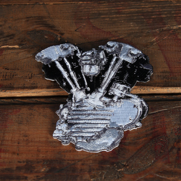 Lowbrow Customs Knucklehead Engine Patch Silver Black