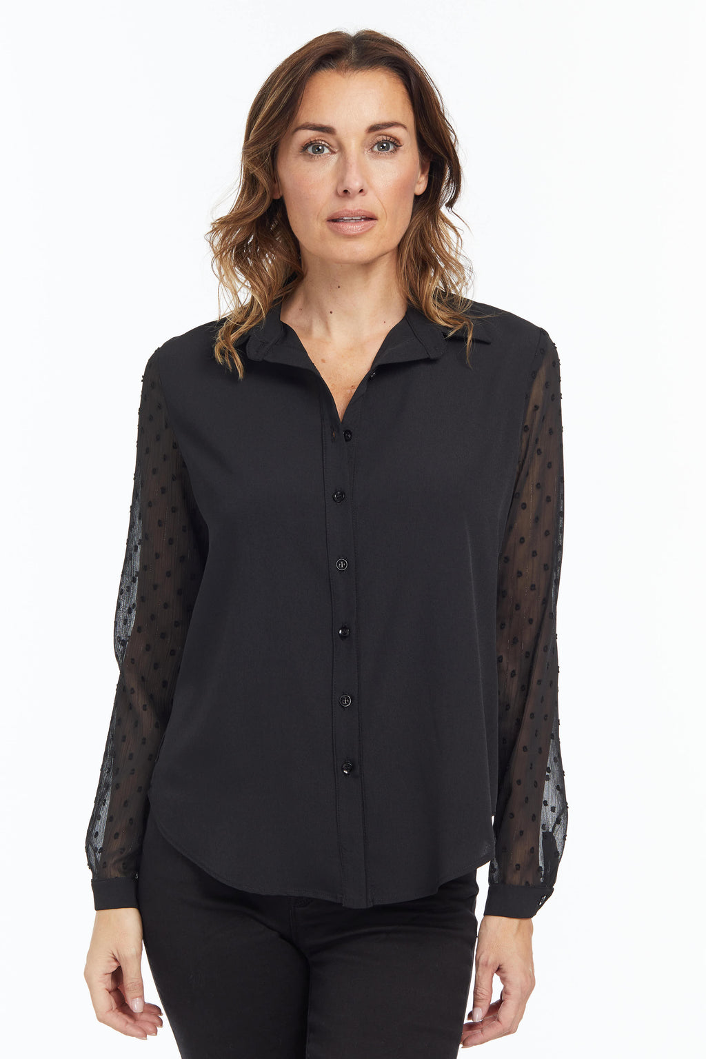 FLORENCE SG Sheer Sleeve Blouse