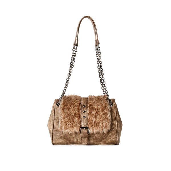 Vegan Fur Chain Strap Bag - Vegan Leather