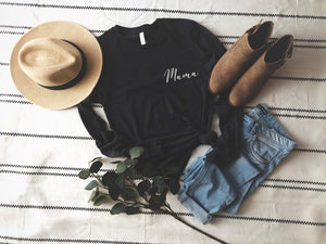 black long sleeved thin tee with mama on it in white writing