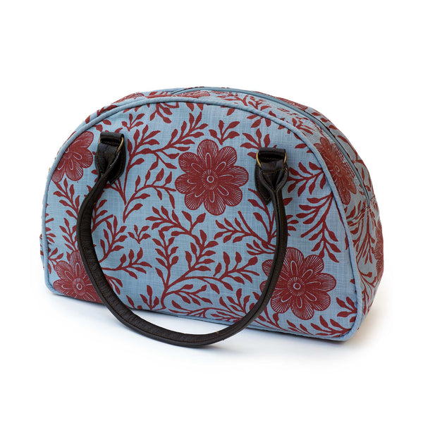 Blue khanga flower bowler bag