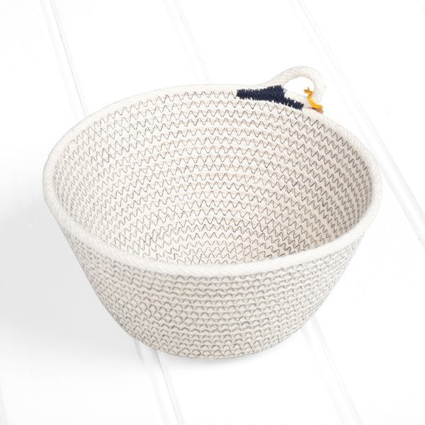 Small natural basket – navy