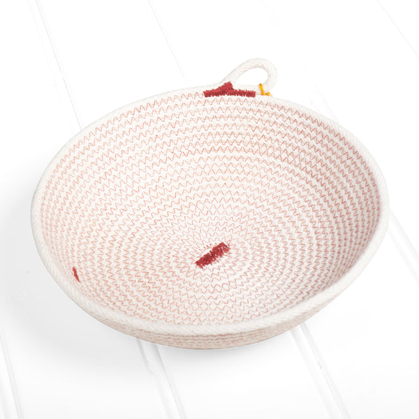 Small natural flat bowl – red