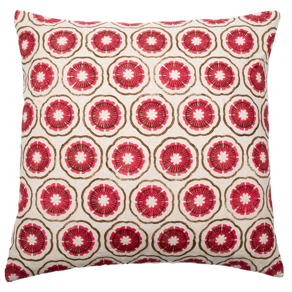 Pink & Brown Block Flowers cushion