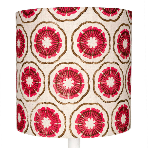 Pink & Brown Block Flowers table lampshade