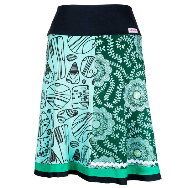 A-line Green crystal short skirt