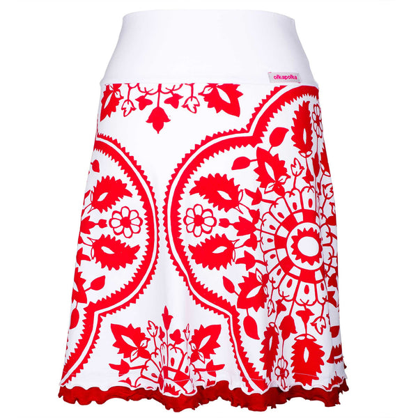 A-line Red Courtyard frill skirt