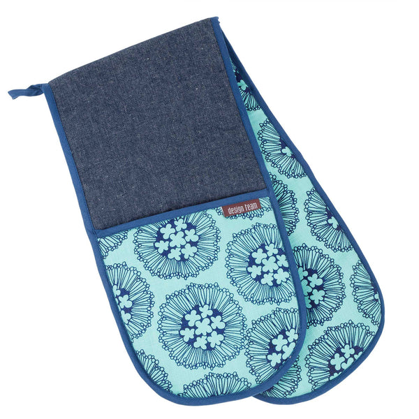 Aqua Flowerburst oven gloves