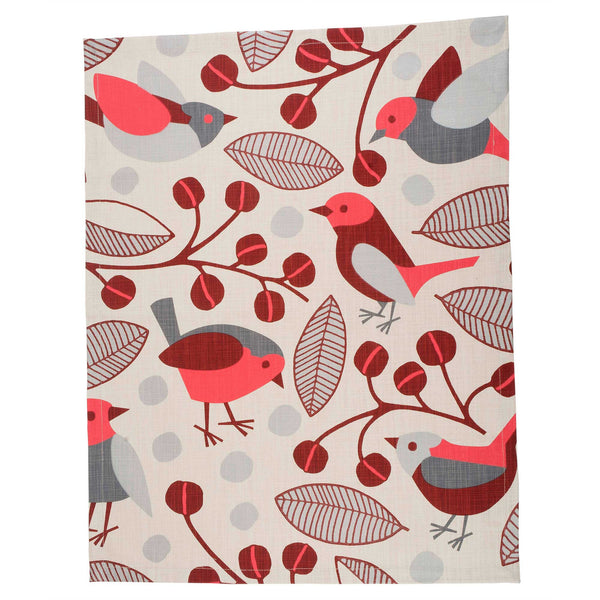 Red Garden Birds tea towel