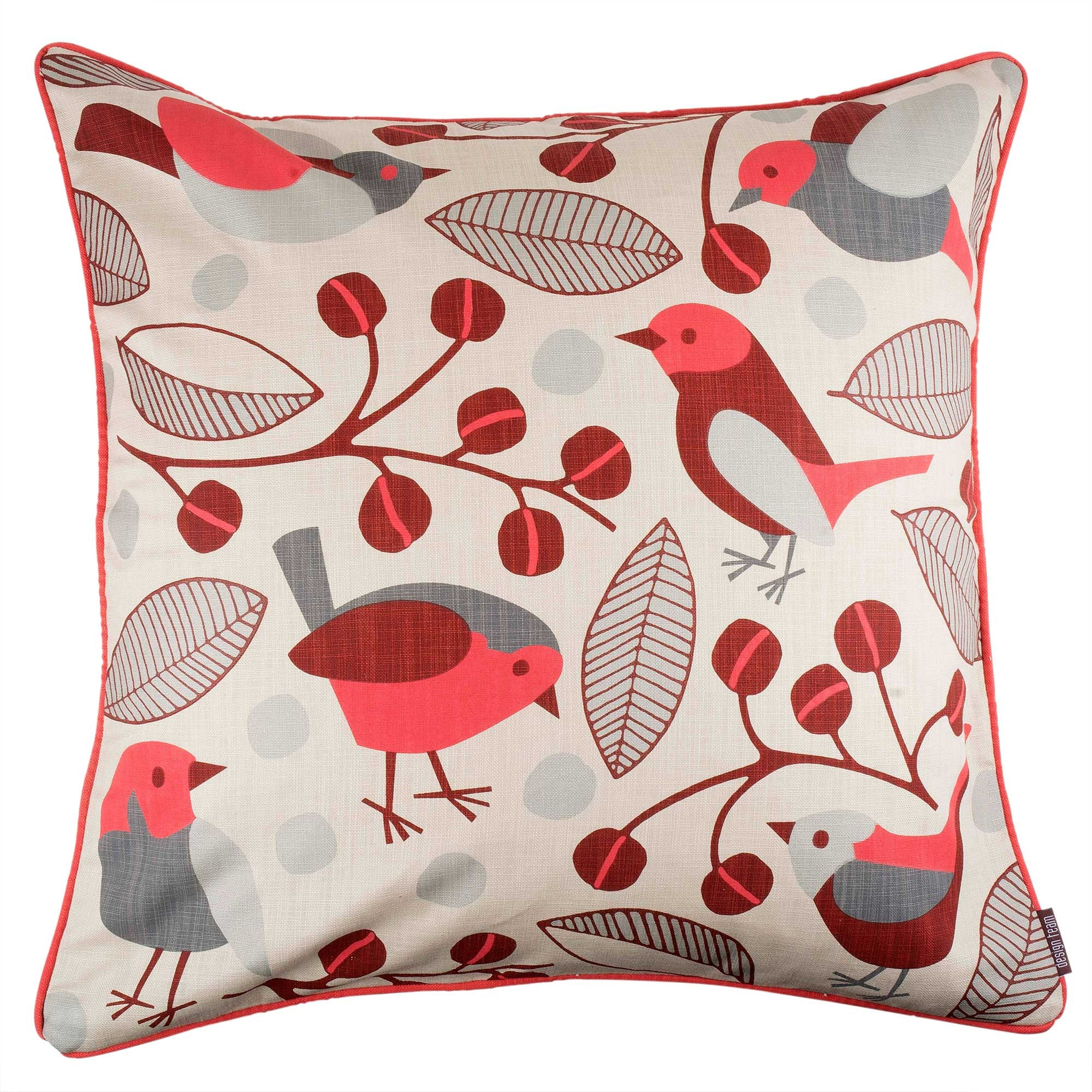 Red Garden Birds cushion