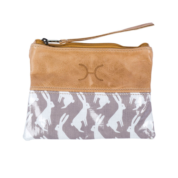 Leather & oilcloth pouch